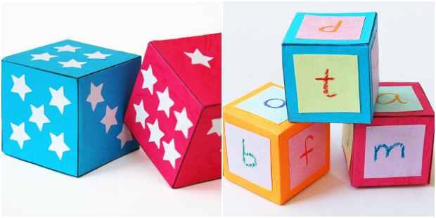 Cubos de papel para atividades infantis
