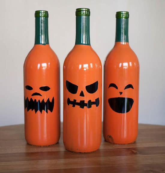 Enfeites para Halloween com garrafas