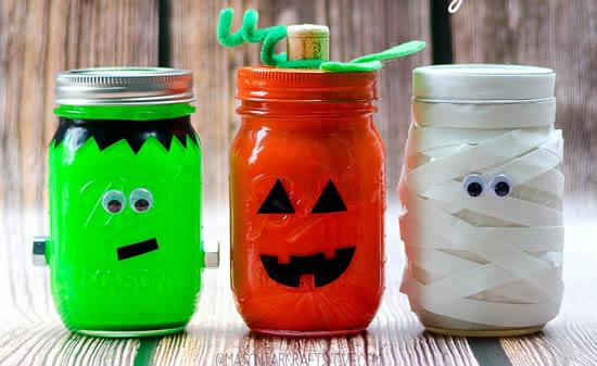 Decoração com potes para Halloween