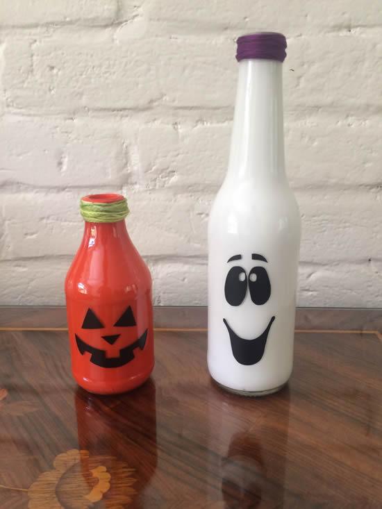 Linda decoração para Halloween com reciclagem