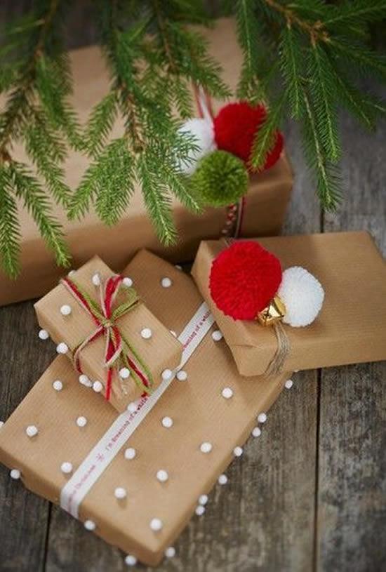 Linda embalagem de papel para presente de Natal
