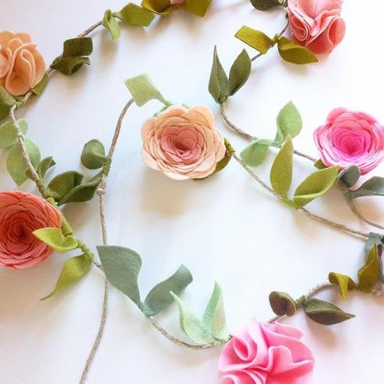 Flores de feltro para decoração