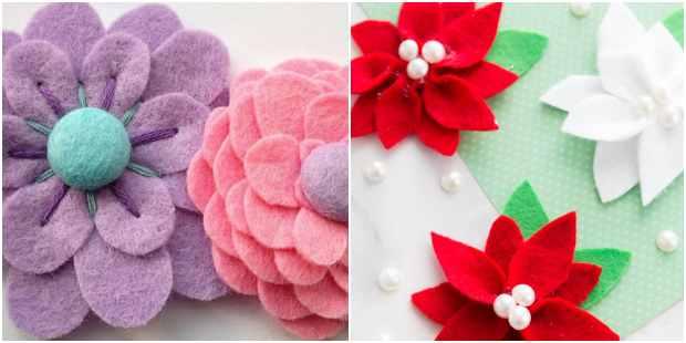 Ideias criativas para fazer flores de feltro