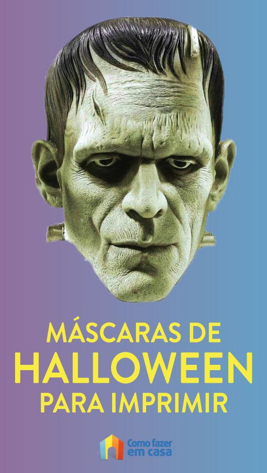 Máscaras de Halloween coloridas para imprimir