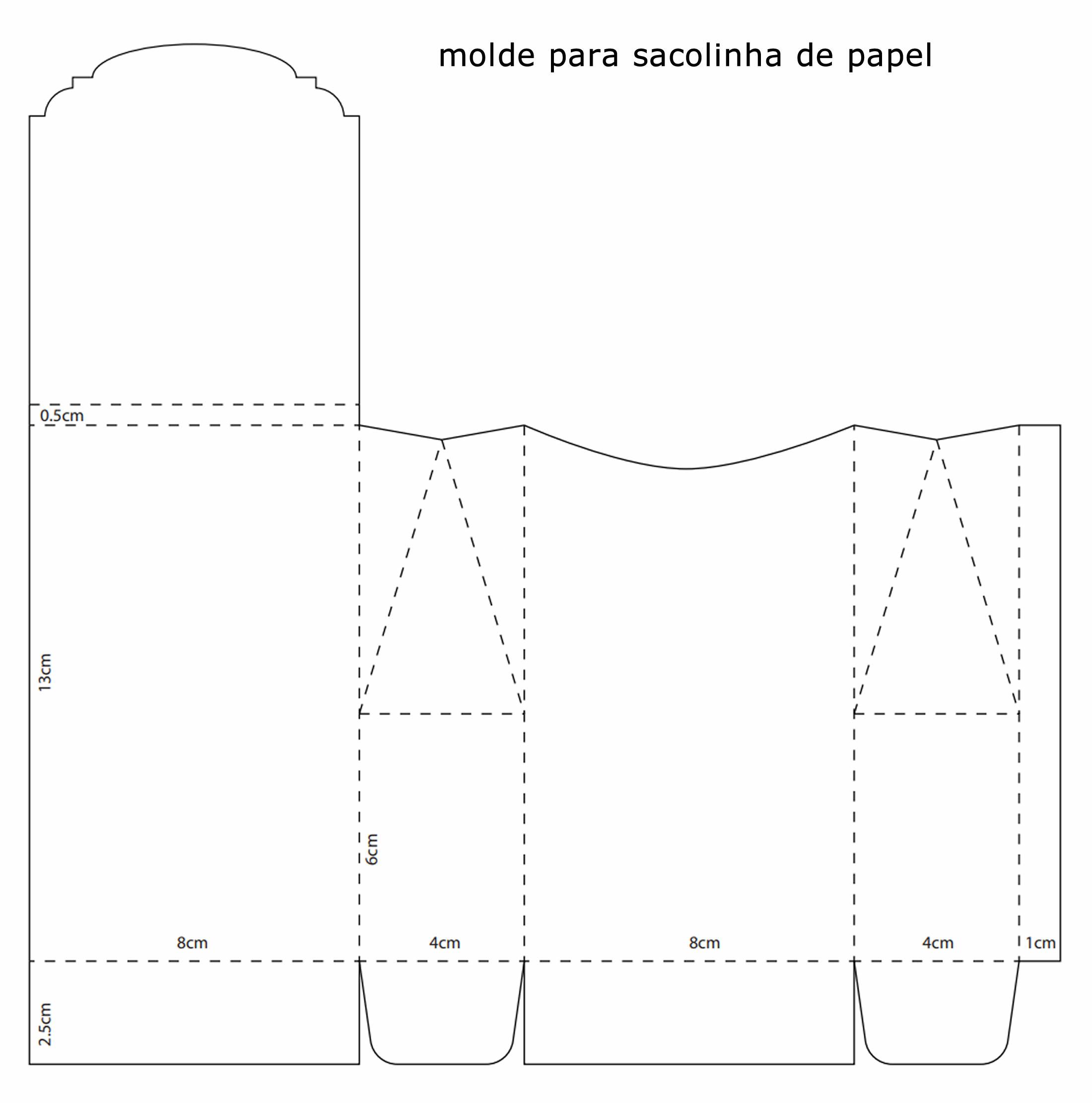 Molde para fazer sacolinhas de papel