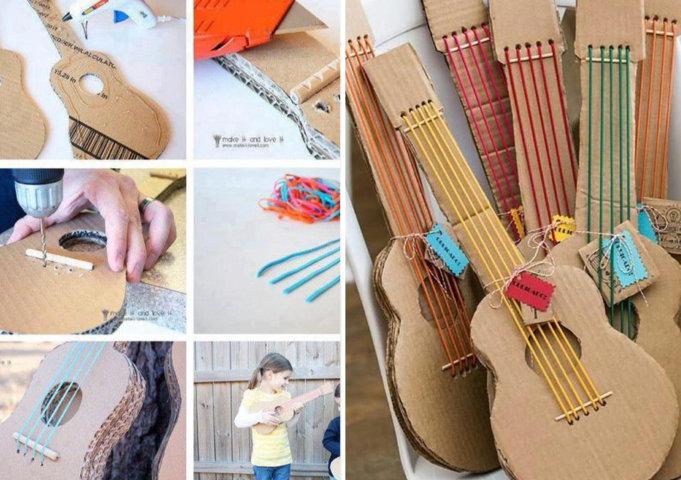 Violão de papelão para o Dia das Crianças