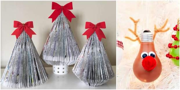 10 ideias lindas deEnfeites de Natal com reciclagem