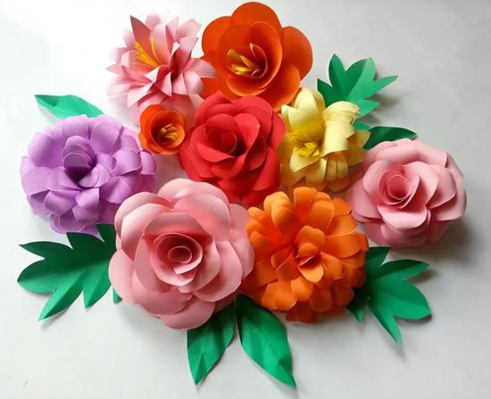 Flores lindas com papel