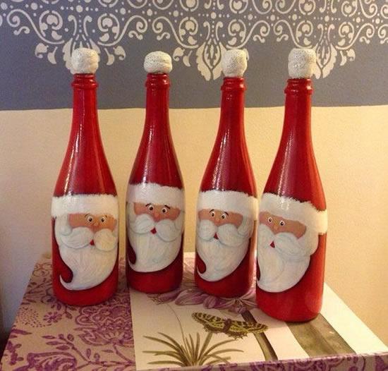 Crie um lindo Papai Noel com garrafa de vidro