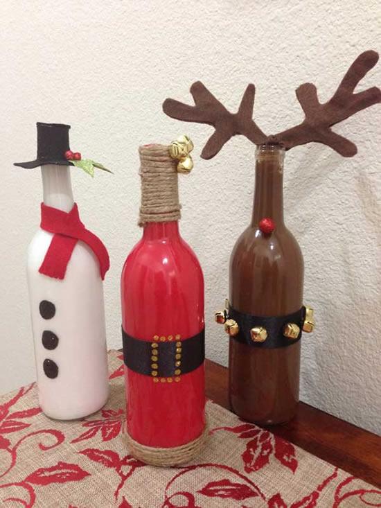 Lindos Papais Noéis com garrafas de vidro