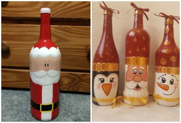 Papai Noel feito de garrafa de vidro